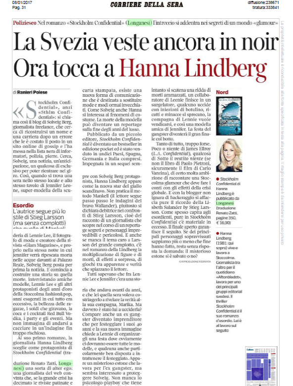 Review go Stockholm Confidential in Corriere della Sera, January 7, 2017